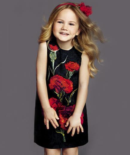 Đầm bé gái họa tiết cẩm chướng