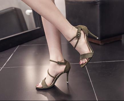 Giày sandal dây ngang da lộn 8cm