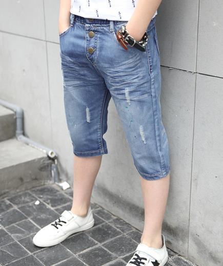 Quần short jean rách bé trai cạp chun