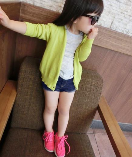 Quần short jean bé gái lưng chun
