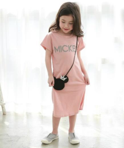 Đầm suông thun bé gái họa tiết Mickey