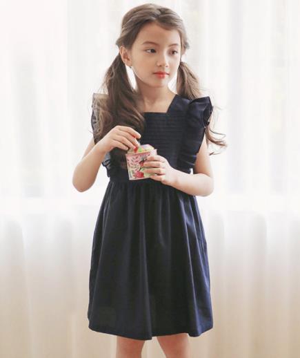 Đầm cotton bé gái phối bèo