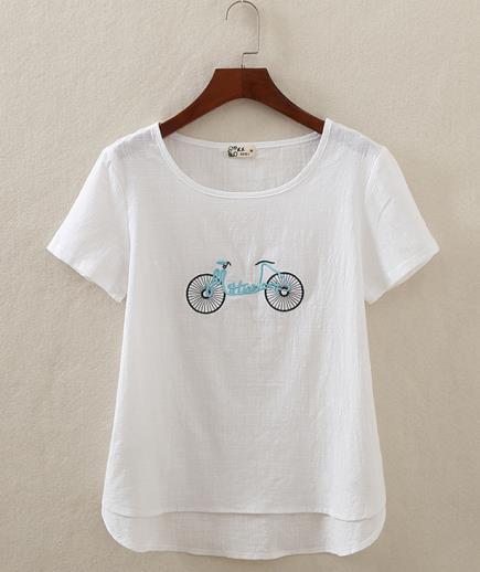 Áo kiểu cổ tròn tay ngắn thêu họa tiết xe đạp