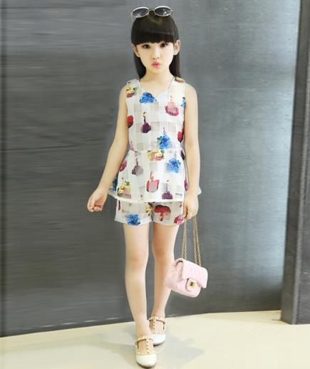 Bộ đồ short áo peplum bé gái
