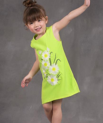 Đầm suông bé gái họa tiết thêu hoa