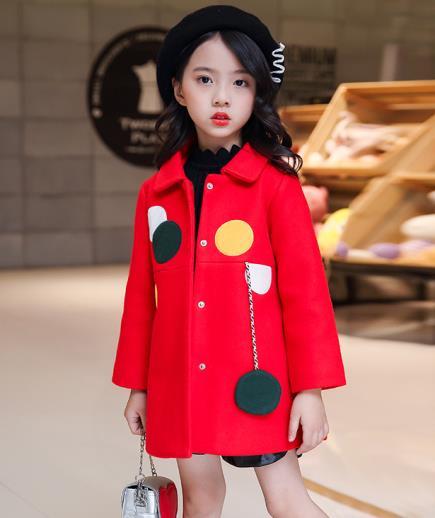 Áo khoác dạ bé gái họa tiết chấm bi