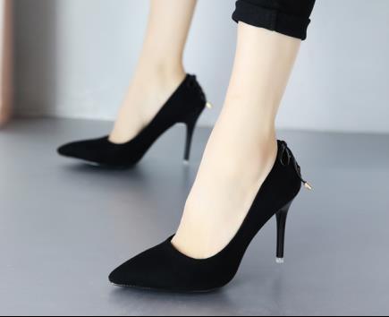 Giày cao gót da lộn phối dây 9cm