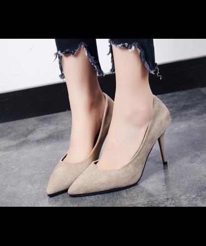 Giày cao gót da lộn bít mũi 8cm - Da lộn - DINGHAO - Hồng Kông
