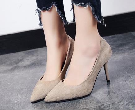 Giày cao gót da lộn bít mũi 8cm