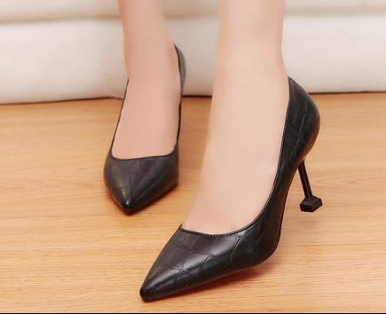 Giày cao gót bít mũi họa tiết rằn 7cm