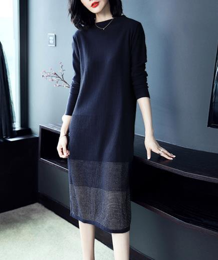Đầm suông dệt kim dài tay xanh đen