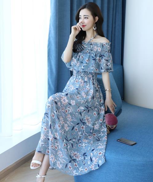 Đầm maxi voan họa tiết hoa trễ vai nhún bèo - Hồng Kông - Felt Maglietta -  Xanh   Muasam24