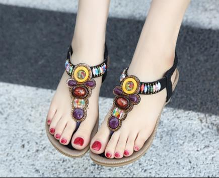 Sandal xỏ ngón Siketu đính đá đa sắc