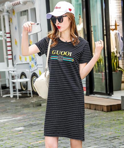 Đầm suông thun sọc ngang tay ngắn Guooi