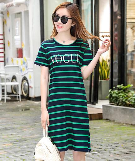 Đầm suông thun sọc ngang Vogue