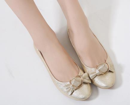 Giày búp bê đính nơ ánh kim