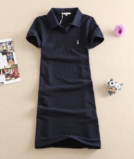 Đầm suông thun cổ sơ mi xanh đen