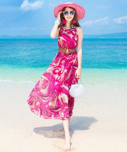 Đầm maxi voan cổ yếm hồng
