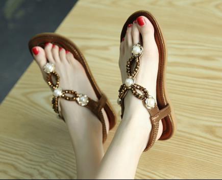 Sandal xỏ ngón đính cườm Siketu