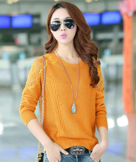 Áo len dệt kim dài tay phối ren