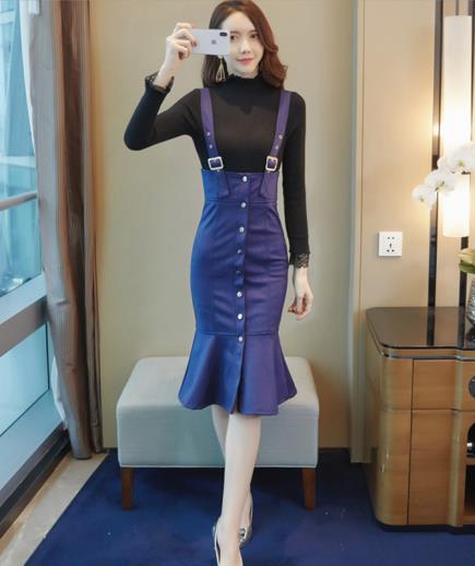 Set áo len dài tay chân váy hai dây đuôi cá