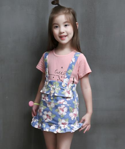 Set yếm hoa áo thun bé gái