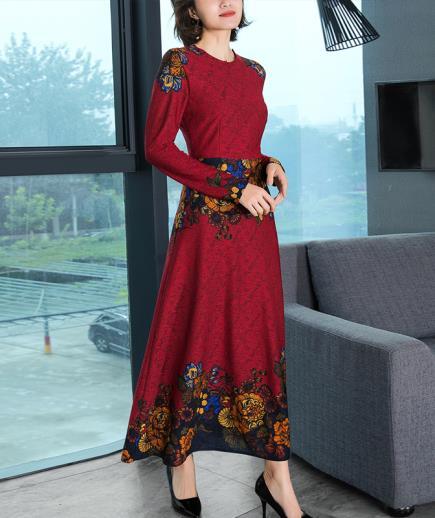 Đầm maxi dài tay họa tiết hoa hồng