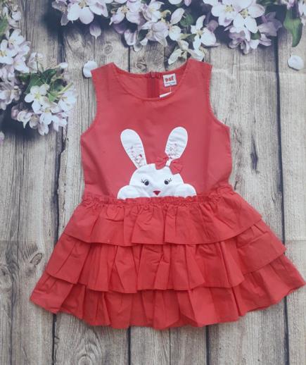 Đầm xòe thỏ trắng xếp tầng bé gái
