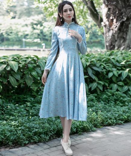 Đầm xòe dài tay phong cách cổ điển