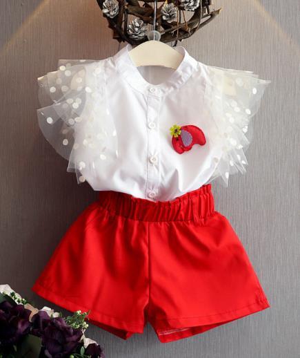Bộ đồ áo cánh tiên quần short bé gái