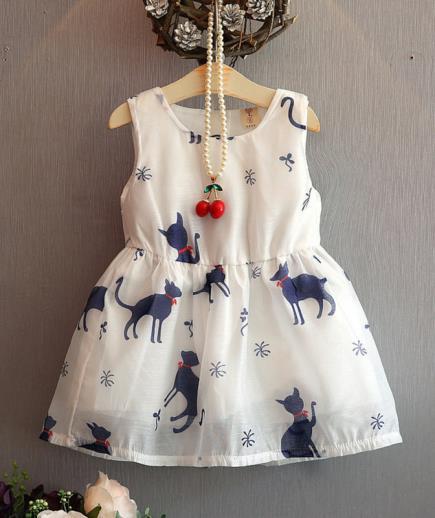 Đầm xòe bé gái họa tiết chú mèo