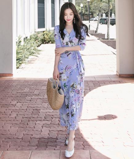 Đầm maxi thun vạt chéo họa tiết hoa