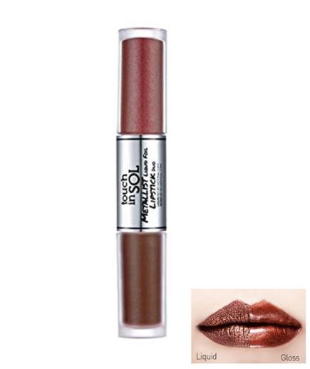 Son Touch In Sol Metallist Liquid Foil Lipstick Duo Màu Jasmine and Brownie