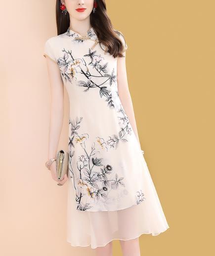 Đầm lụa sườn xám họa tiết thiên nhiên