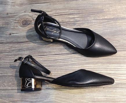 Sandal quai hậu viền gót vàng