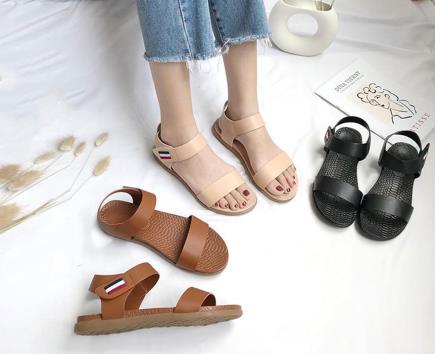Sandal đế vân khóa dán phối sọc màu