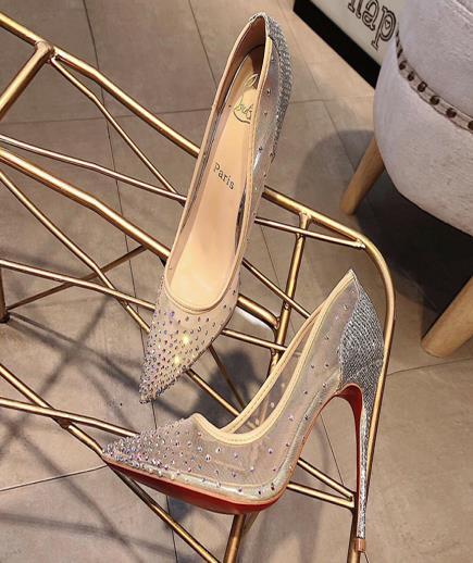 Giày lưới gắn hạt cườm 10Cm
