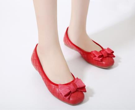 Giày búp bê ca rô đính nơ