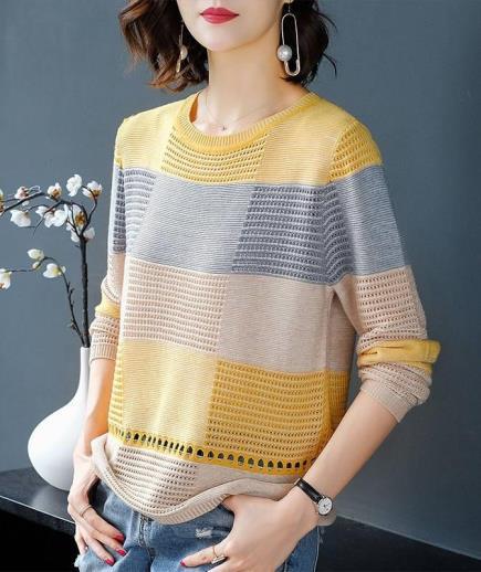 Áo len dệt kim cổ tròn phối màu