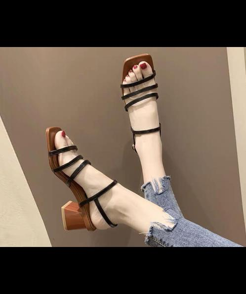 Giày gót trụ 3 quai ngang mũi vuông 5cm