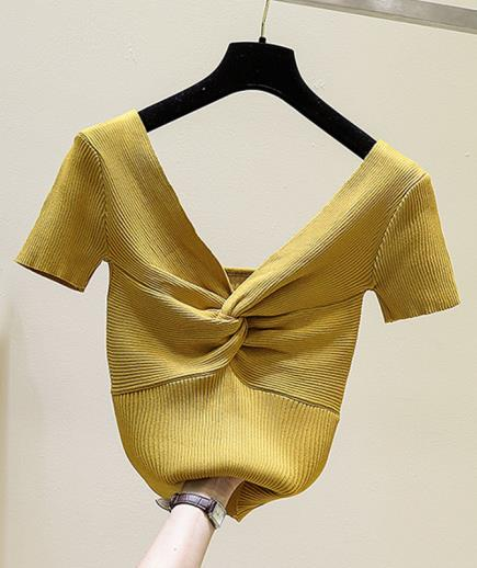 Áo dệt kim cổ v chéo ngực trễ lưng