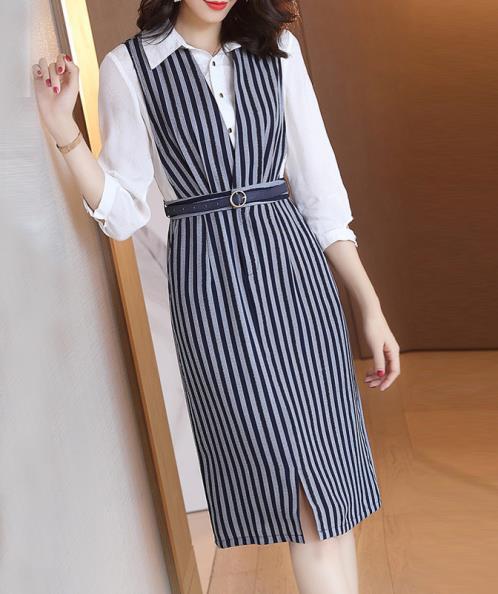 Đầm yếm công sở họa tiết kẻ sọc - Quảng Châu - Đang cập nhật - Trắng, xanh  đen | Muasam24