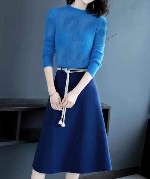 Set áo len chân váy dạ chữ A phối dây
