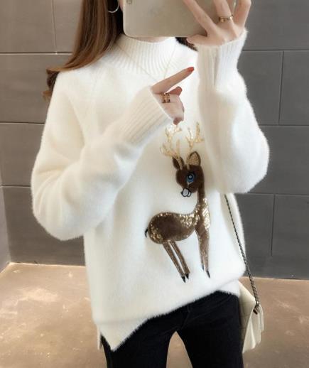 Áo len dệt kim họa tiết tuần lộc