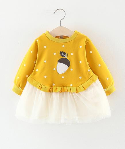 Áo váy bé gái thêu hạt dẻ