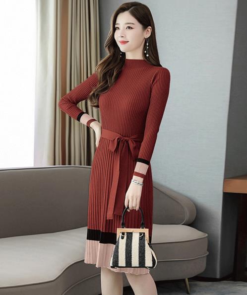 Đầm len dập li phối màu cao cấp