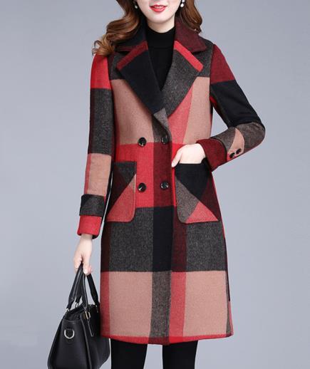 Áo khoác dạ caro cổ vest