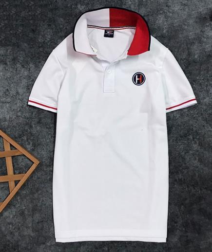 Áo thun nam cổ bẻ đính logo chữ H