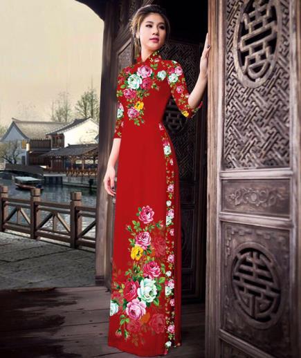 Áo dài truyền thống in họa tiết hoa hồng