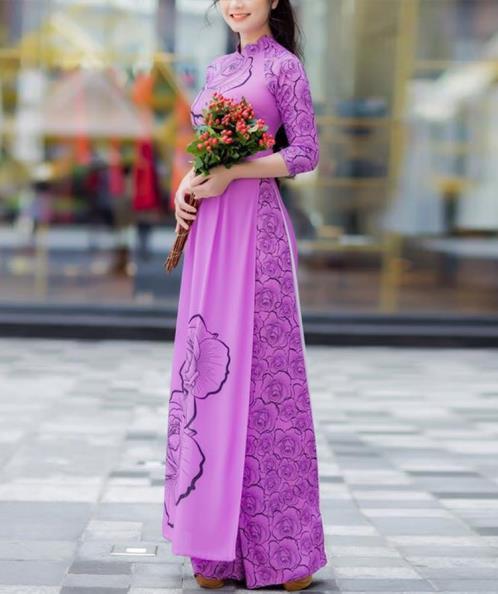 Áo dài truyền thống in 3D họa tiết hoa hồng
